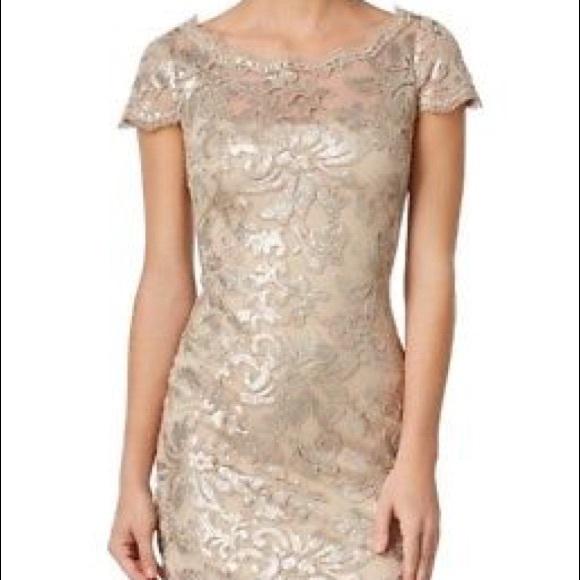 Hpx2calvin Klein Sequined Lace Sheath Dress